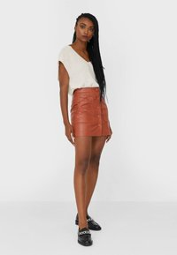 Stradivarius - Leather skirt - brown - 1