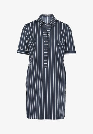 HEMDBLUSENKLEID MIT KNOPFLEISTE - Shirt dress - dunkelblau/weiß