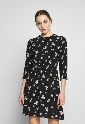 BLACK DAISY HIGH NECK SHIRRED WAIST - Denní šaty - black