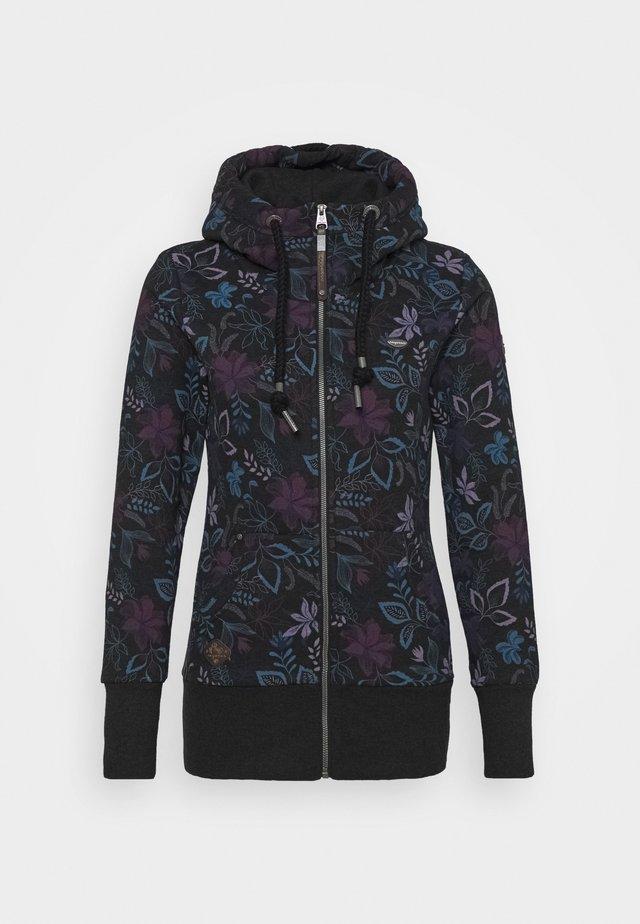 NESKA FLOWERS ZIP - veste en sweat zippée - black