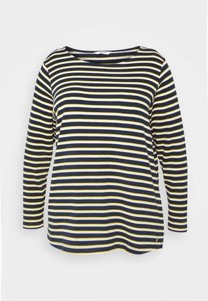 Topper langermet - navy yellow white stripe