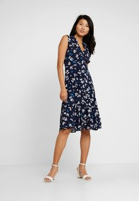 Marc O'Polo - DRESS FEMININE SHAPE FLARED - Day dress - dark blue - 1