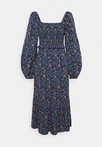 FRILL SHIRRED MILKMAID MIDI DRESS - Maxi dress - blue