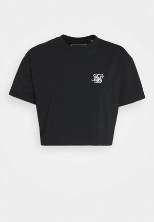RETRO BOX FIT CROP TEE - Jednoduché triko - black