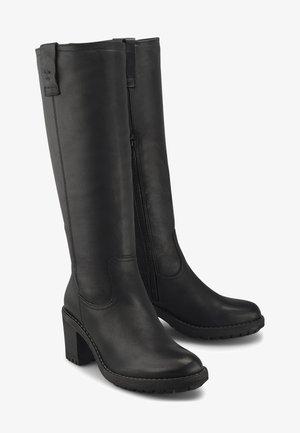 LEDER-STIEFEL - Over-the-knee boots - schwarz