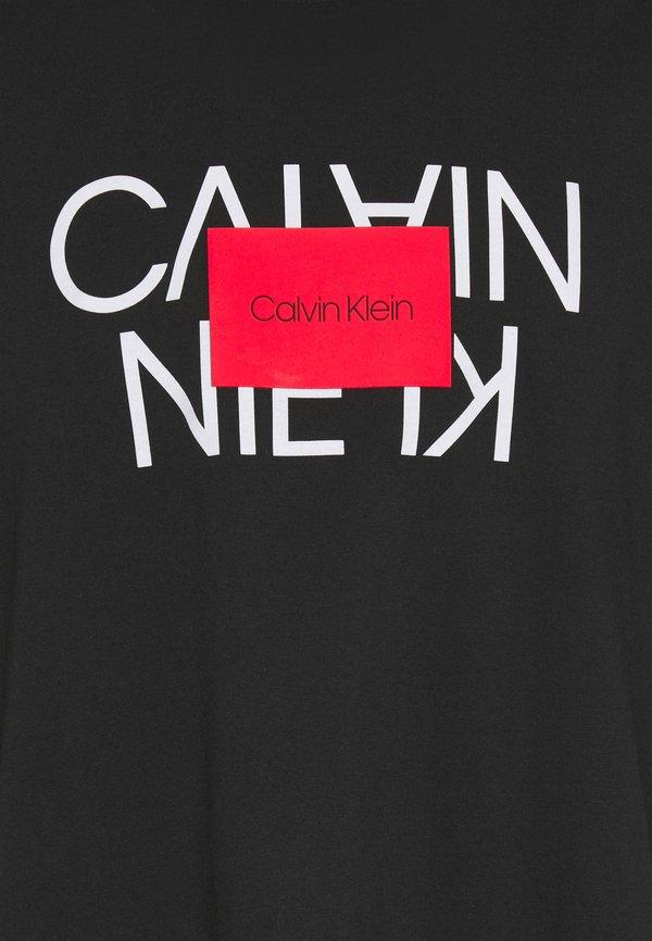 Calvin Klein TEXT REVERSED LOGO - T-shirt z nadrukiem - ck black/czarny Odzież Męska WYZM
