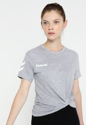 GO WOMAN - Print T-shirt - grey melange