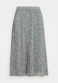 Vila - VICANELA MIDI SKIRT - A-line skirt - colony blue/salmon buff - 4