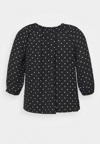 Dorothy Perkins Curve - MONO SPOT RUFFLE 3/4 SLEEVE - Long sleeved top - black - 1