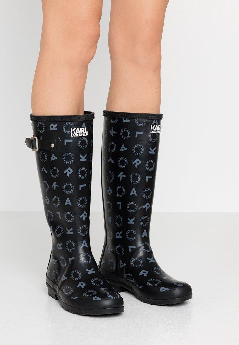 KARL LAGERFELD - KALOSH PRINT RAIN BOOT - Gummistøvler - black/light grey