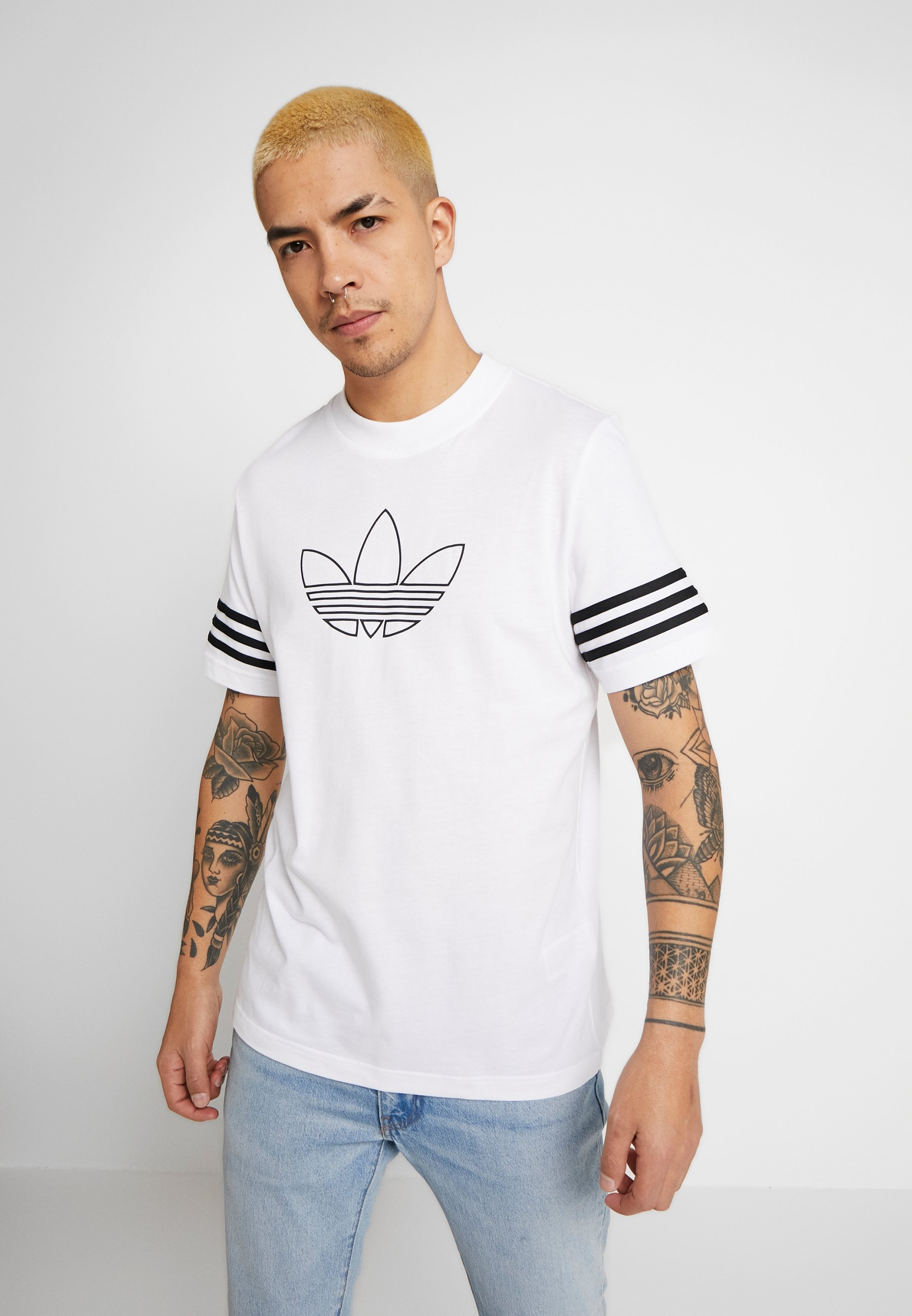 Adidas Originals Outline Tee - T-shirt Z Nadrukiem White