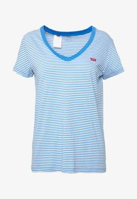 Levi's® - PERFECT V NECK - T-shirt print - light blue, white - 3