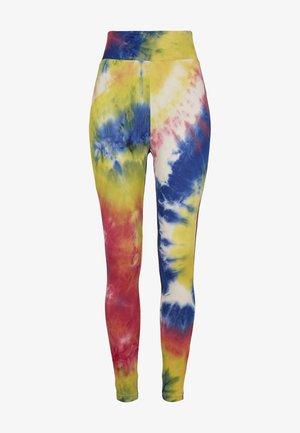 TIE DYE HIGH WAIST  - Leggings - Trousers - royalblue/brightyellow