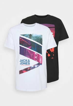 JJURBAN CITY TEE CREW NECK 2 PACK - T-shirt imprimé - black/white