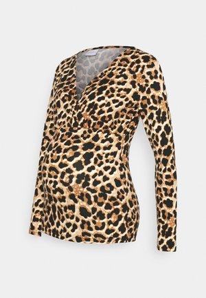 NURSING - Bluzka z długim rękawem - black/brown leo