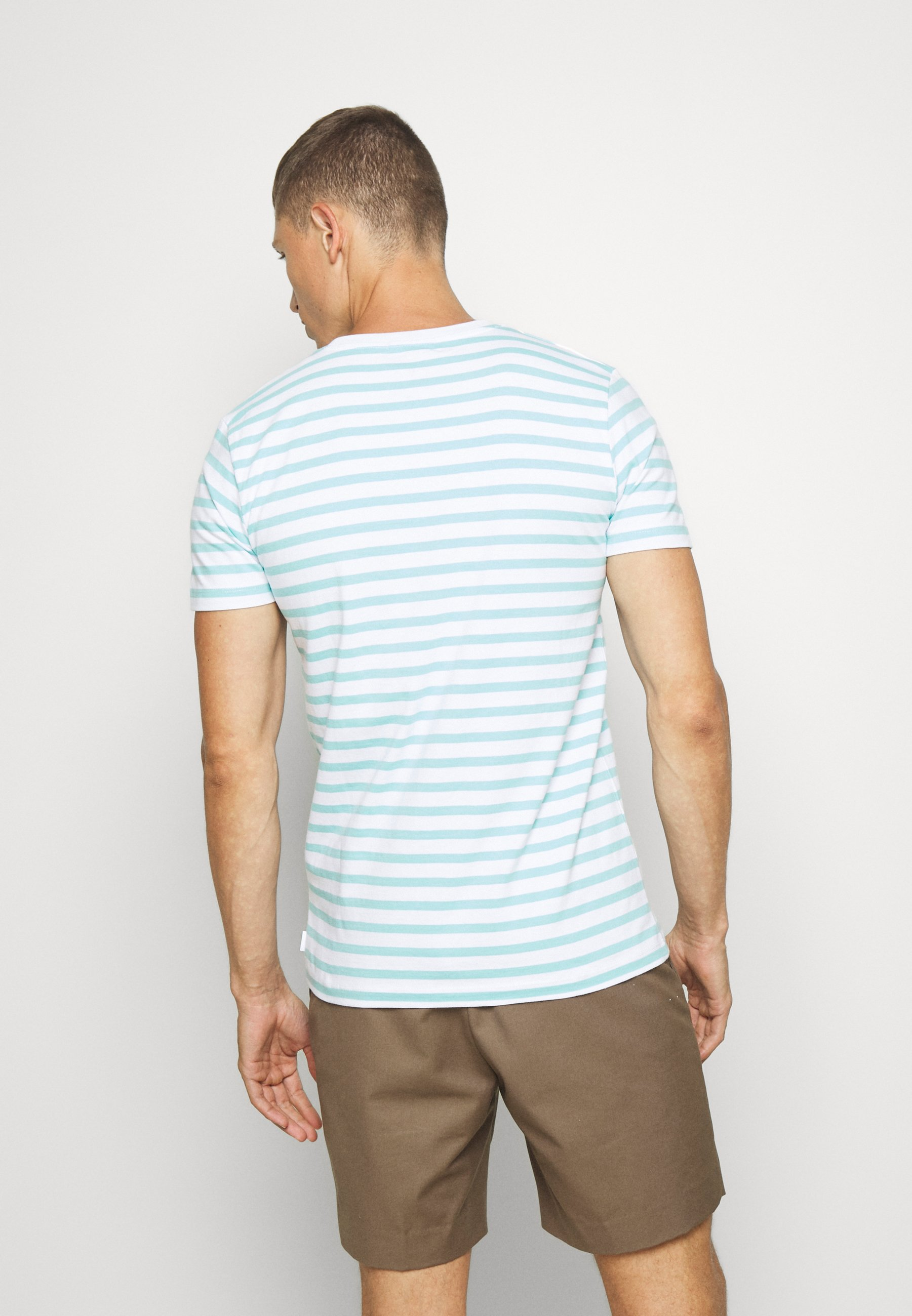 TOM TAILOR DENIM STRIPED EMBROIDERY - Print T-shirt - soft sky blue ZeaGf