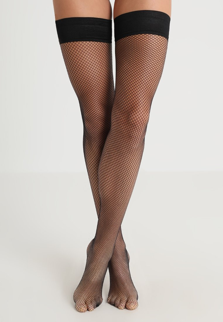 BlueBella - FISHNET LEG PLAIN TOPPED HOLD UPS - Ylipolvensukat - black