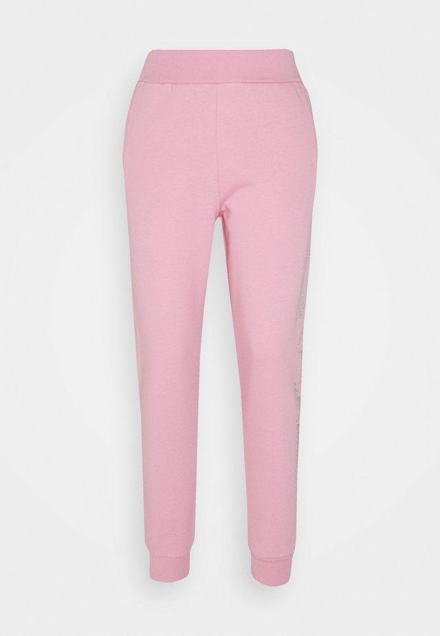 RHINESTONE LOGO PANTS - Tracksuit bottoms - pink