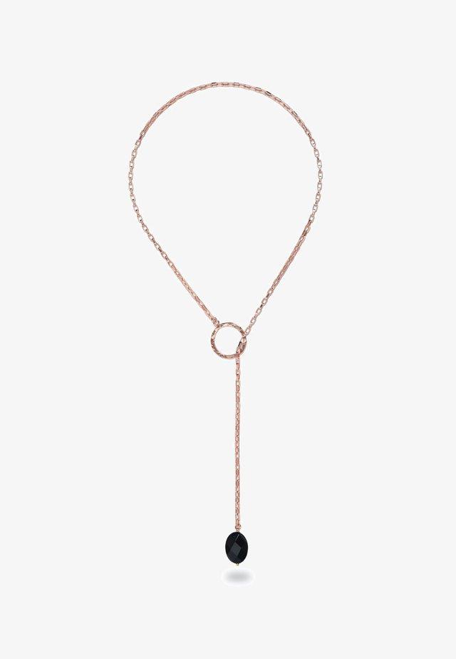 CHARA ROSE GOLD LARIAT AND BLACK ONYX  - Ketting - lilac
