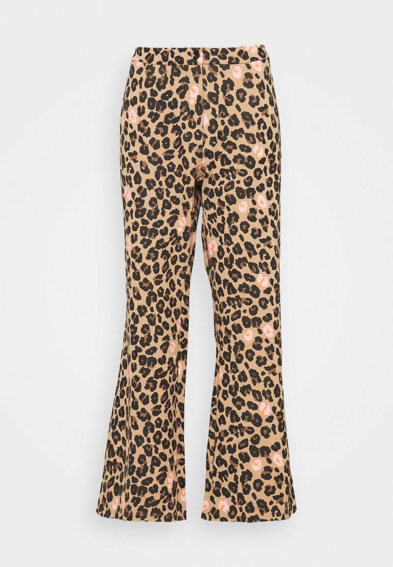 Never Fully Dressed - LEOPARD KICK FLARE TROUSERS - Trousers - multi