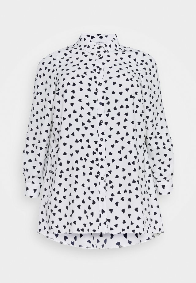 HEART PRINT SHIRT - Button-down blouse - ivory