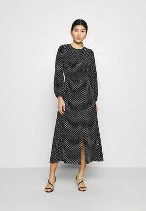 GATHERED NECK DRESS - Vestido informal - black