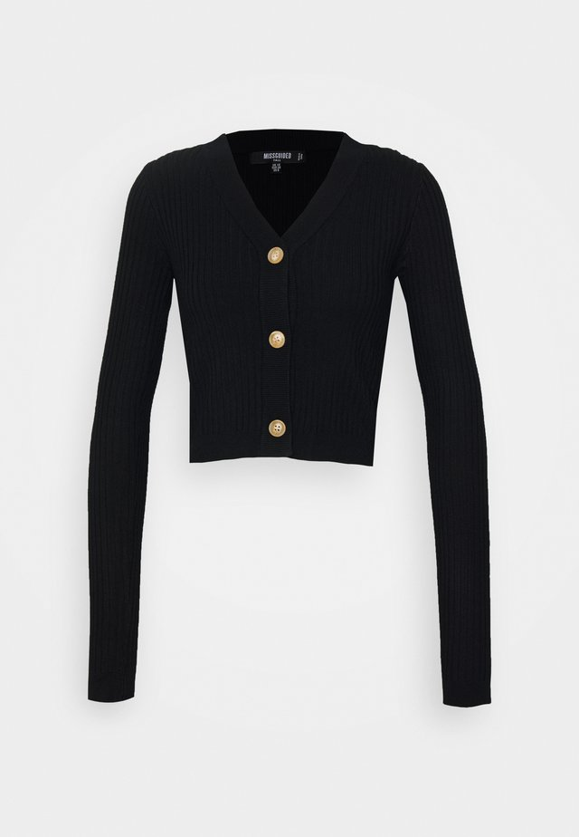 HORN BUTTON CROPPED  - Cardigan - black