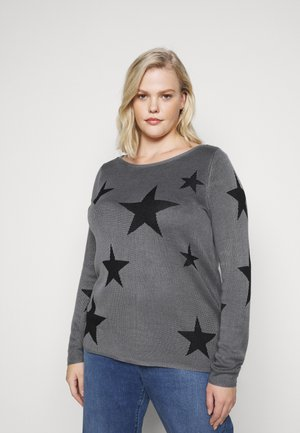 JRSANNE - Svetr - medium grey melange/black stars