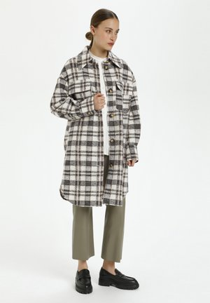 COOKIE  - Classic coat - whisper white and grey check