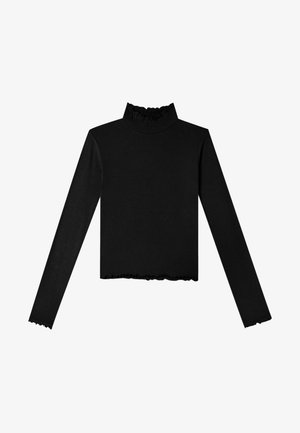 MIT GESMOKTEM KRAGEN - Long sleeved top - black