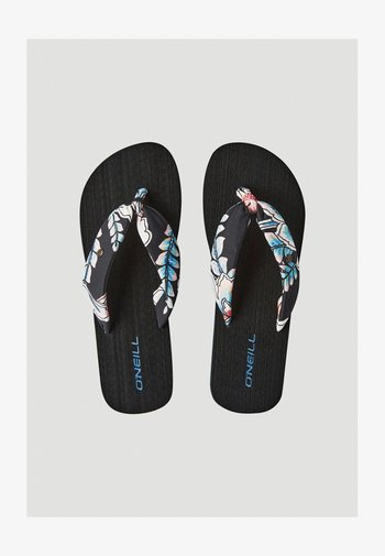 DITSY SUN - T-bar sandals - black with red