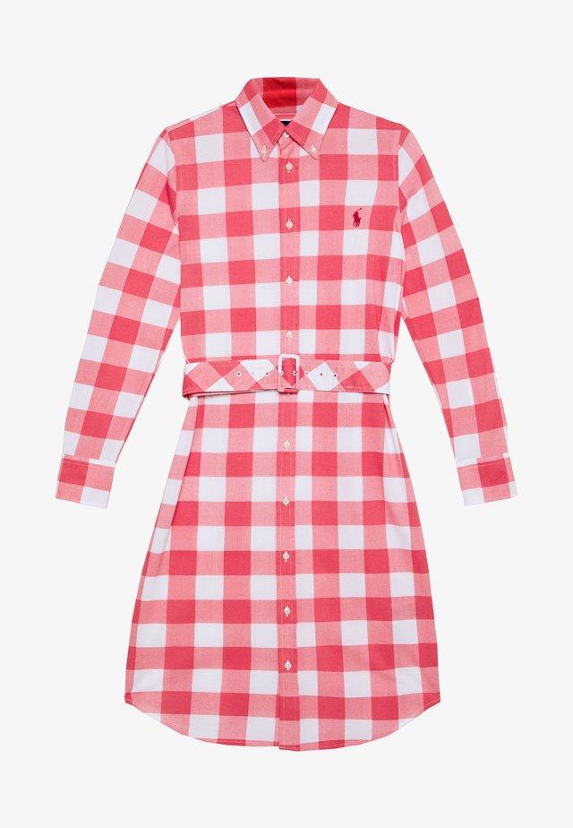HEIDI LONG SLEEVE CASUAL DRESS - Shirt dress - amalfi red/white