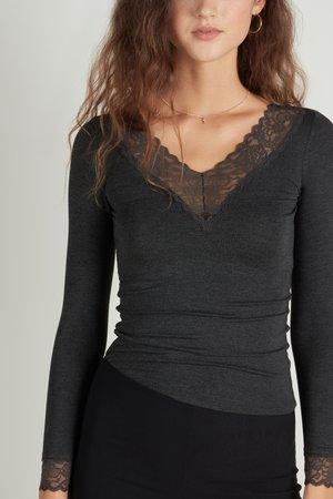 MIT V-AUSSCHNITT - Long sleeved top - dark grey mel