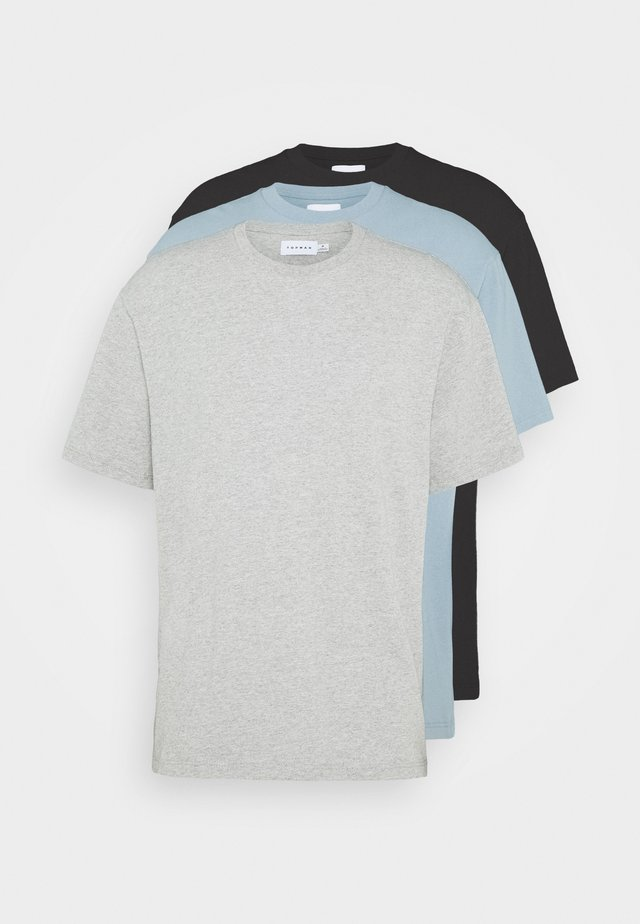 3 PACK - Basic T-shirt - black/grey/blue
