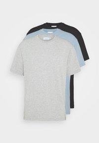 Topman - 3 PACK - Basic T-shirt - black/grey/blue - 6