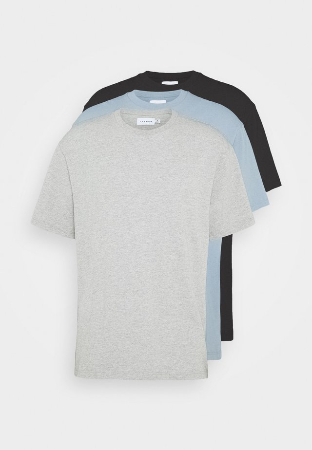 3 PACK - T-shirt - bas - black/grey/blue