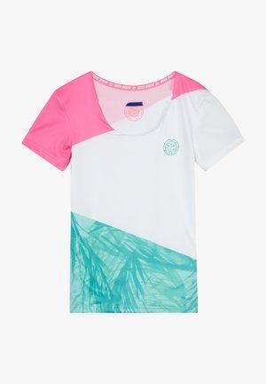 LEOTIE TECH ROUNDNECK TEE - T-shirt z nadrukiem - pink/white/mint