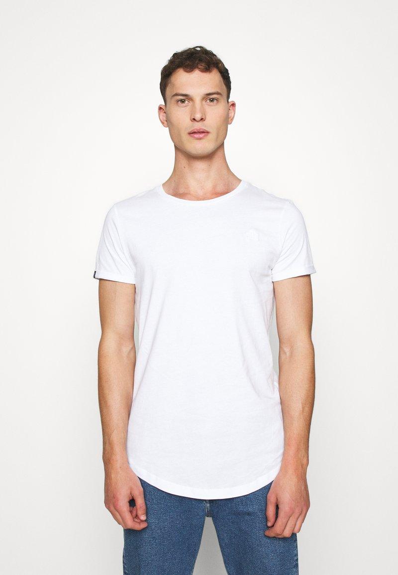 TOM TAILOR DENIM - LONG BASIC WITH LOGO - T-shirt - bas - white
