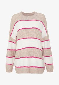 RUGBY STRIPE OVERSIZED JEGGING PULLOVER - Jumper - oatmeal