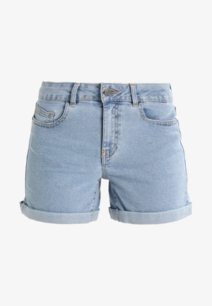 NMBE LUCY FOLD - Denim shorts - light blue denim