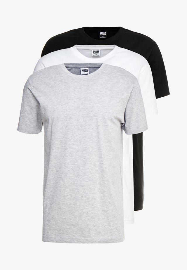 BASIC TEE 3 PACK - Basic T-shirt - black/white/grey
