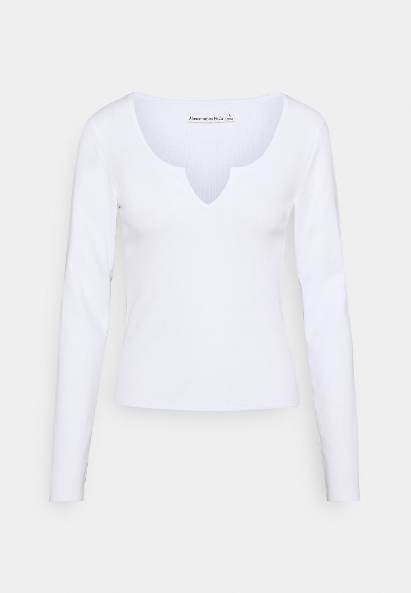 Abercrombie & Fitch - NOTCH NECK CHASE  - Long sleeved top - white