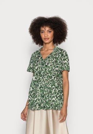 BLOUSE V NECK SHORT SLEEVED FEMININE  - Bluse - green/white