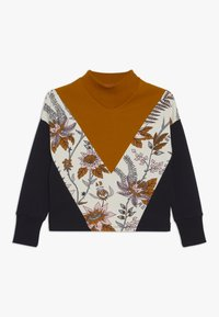 Scotch & Soda - COLOUR BLOCK WITH TURTLE NECK AND FLORAL PRINT PANEL - Top s dlouhým rukávem - mustard yellow/black/off-white - 0
