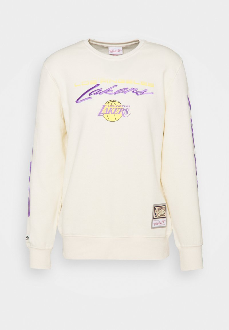 Mitchell & Ness - NBA LOS ANGELES LAKERS FLAMES RACING CREWNECK - Club wear - beige