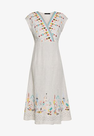 DRESS WITH EMBROIDERY - Kjole - white coffee