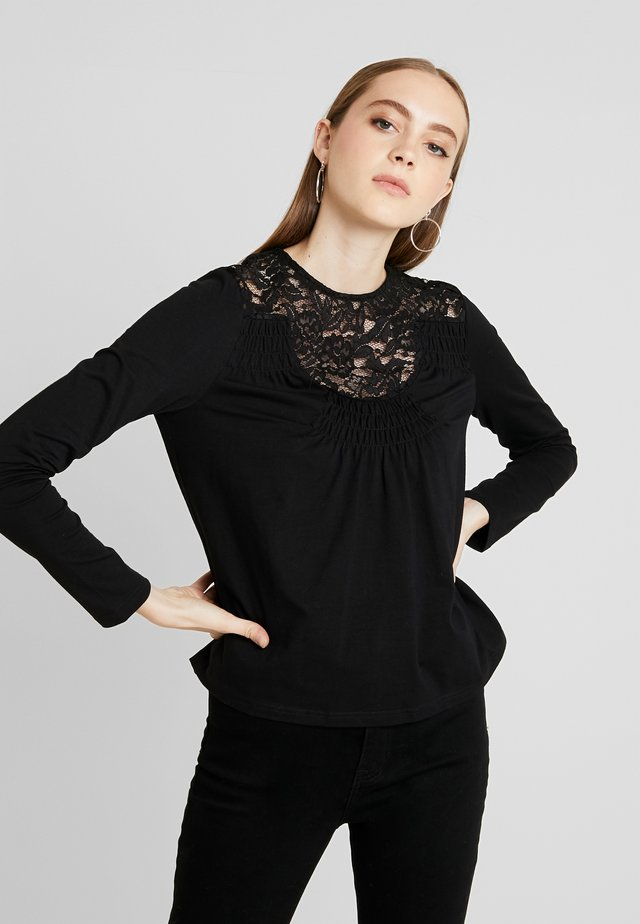 INSERT RUCHED DETAIL - Long sleeved top - black