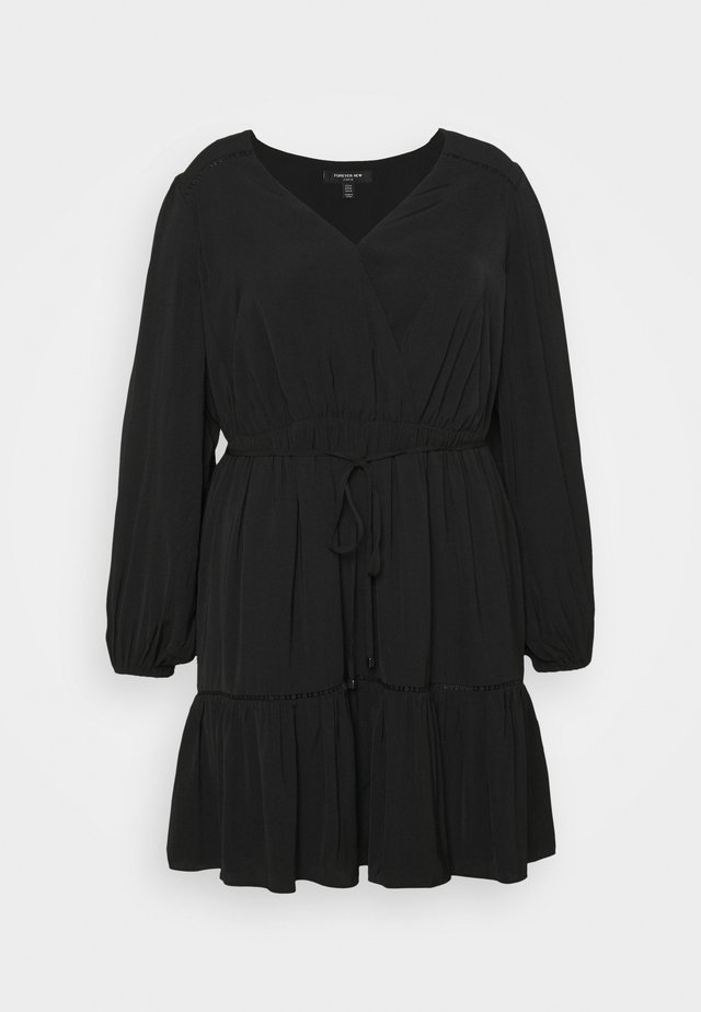 COLETTE SKATER WRAP DRESS - Day dress - black