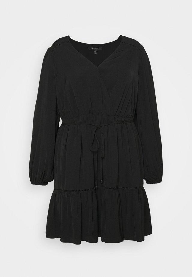 COLETTE SKATER WRAP DRESS - Vestito estivo - black