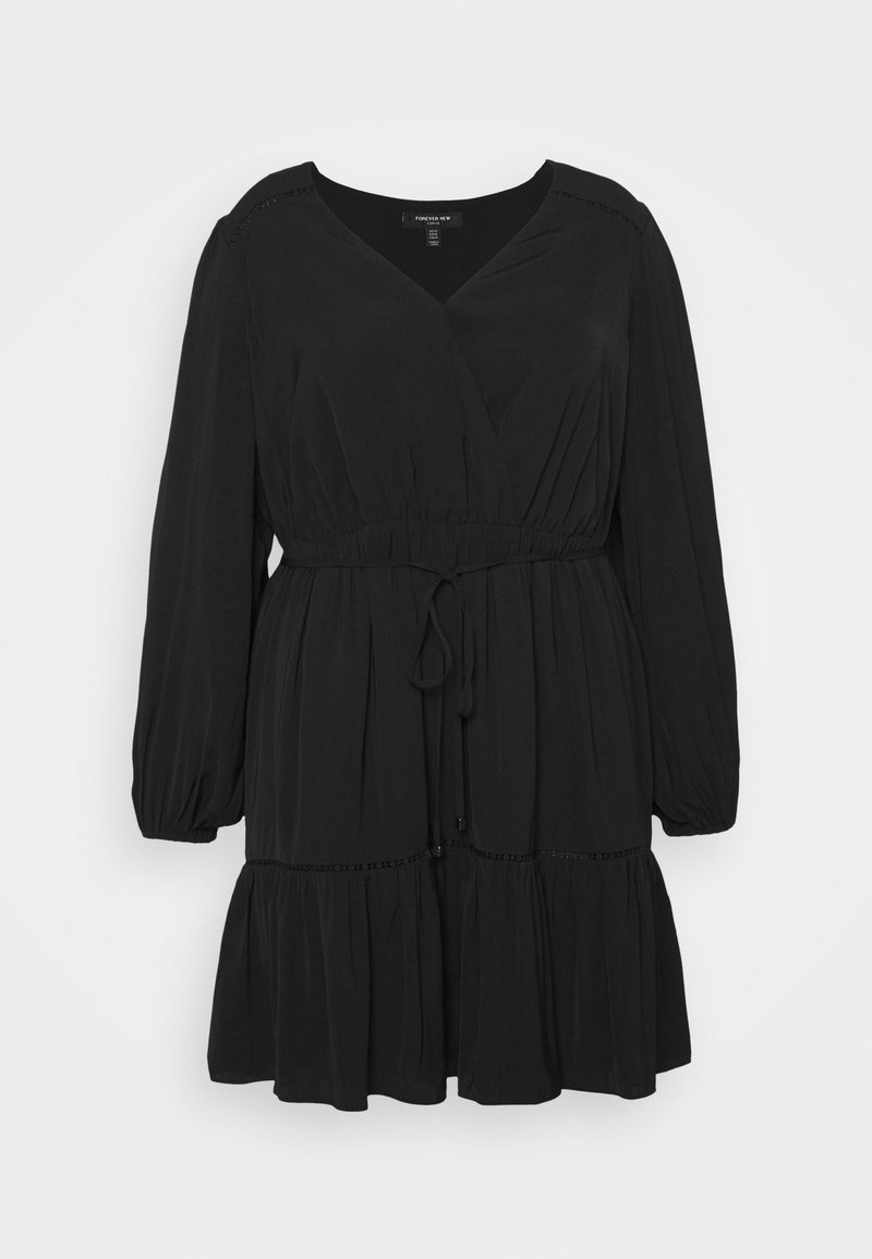 Forever New Curve - COLETTE SKATER WRAP DRESS - Day dress - black